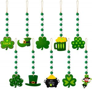10 Pieces St Patrick's Day Wood Bead Garlands Green Shamrock