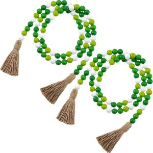 2 Pieces St. Patrick's Day Easter Wood Bead Garlands with Tassels