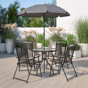 Flash Furniture Nantucket 6 Piece Black Patio Garden Set with Table, Umbrella