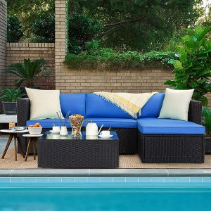 Outdoor All-Weather PE Rattan Wicker Lawn Conversation Sets