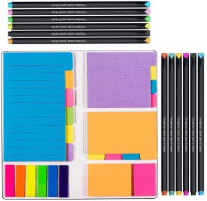 Vicnova Large and Small Sticky Notes Set with Fineliner Color Pens