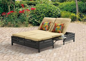 Mainstays Outdoor Double Chaise Lounge Bench for Patio